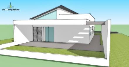 Vista dos fundos de casa de 90m² por Cia de Arquitetura
