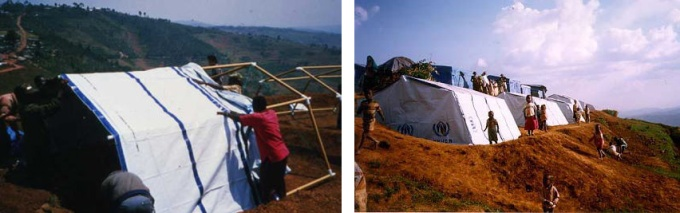 Abrigos para refugiados em Ruanda